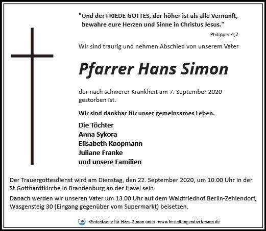 Profilbild von Pfarrer Hans Simon