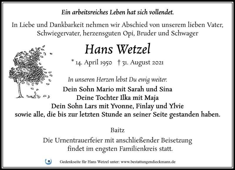 Profilbild von Hans Wetzel