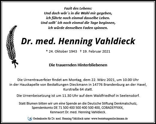 Profilbild von Dr. med. Henning Vahldieck